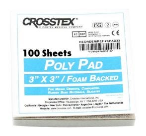 "Poly Coated Mixing Pad, 3"" x 3"", White, 100 Sheets/Pad"