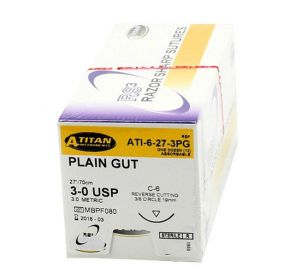 Plain Gut Absorbable Suture, 3-0, C-6, Reverse Cutting, 27""