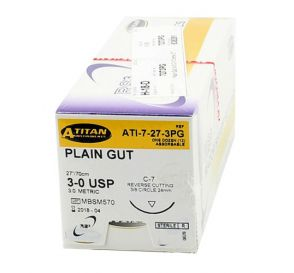 Plain Gut Absorbable Suture, 3-0, C-7, Reverse Cutting, 27""