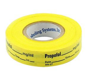 Propofol Labels, Yellow, Perforated Tape Style