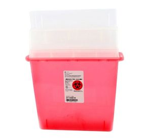 Sharps-A-Gator™ Sharps Container, 5 Quart, Transparent Red w/Tortuous Path Lid