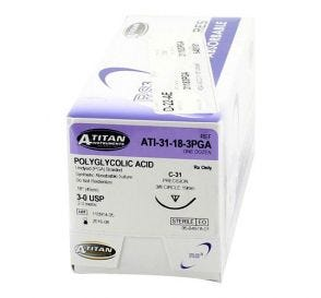"""PGA (Polyglycolic Acid) Undyed Braided Absorbable Suture, 3-0, C-31, Precision Cutting, 18"""""""