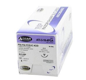 """PGA (Polyglycolic Acid) Undyed Braided Absorbable Suture, 4-0, C-3, Precision Cutting, 18"""""""