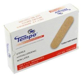"""Fabric Strip Bandage, 1"""" x 3"""", Non Latex, Sterile"""