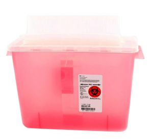 SharpSafety™ Sharps Container 2 Gallon Transparent Red Always Open Lid