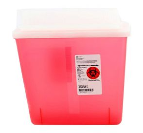 SharpSafety™ Sharps Container, 5 Quart, Transparent Red w/Always Open Lid