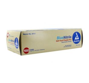 Safe-Touch™ Blue Nitrile Exam Gloves, Large, Powder-Free