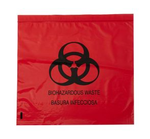 "Biohazard Red Bag 24"" x 24"" 10 Gallon 1.2 mil"