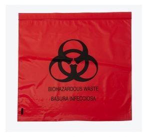 "Biohazard Red Bag 12"" x 12"" Ziplock 2.0 mil"