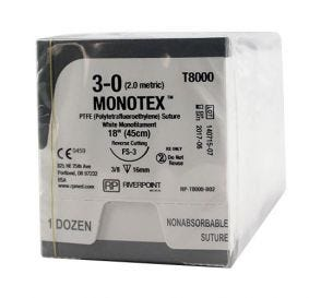 MONOTEX® PTFE (Polytetrafluoroethylene) White Monofilament Non-Absorbable Suture, 3-0, FS-3, Reverse Cutting, 18""