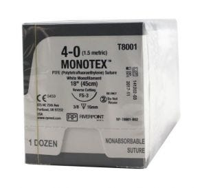 MONOTEX® PTFE (Polytetrafluoroethylene) White Monofilament Non-Absorbable Suture, 4-0, FS-3, Reverse Cutting, 18""