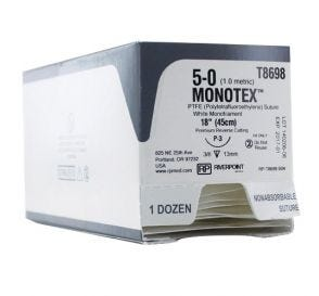 MONOTEX® PTFE (Polytetrafluoroethylene) White Monofilament Non-Absorbable Suture, 5-0, P-3, Premium Reverse Cutting, 18""