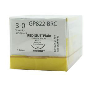 Reli® REDIGUT® Plain Gut Absorbable Suture, 3-0, MFS-2 (FS-2 or C6), Reverse Cutting, 27""