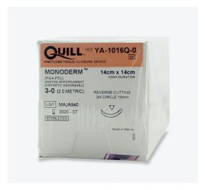 Quill™ Monoderm™ (PGA-PCL) Clear Monofilament Absorbable Suture, 3-0, 18mm 3/8 Circle, Reverse Cutting, 14cm x 14cm Barb Configuration