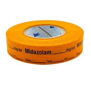 Midazolam Labels, Orange, Perforated Tape Style