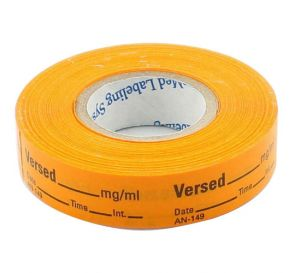 Versed Labels, Orange, Perforated Tape Style